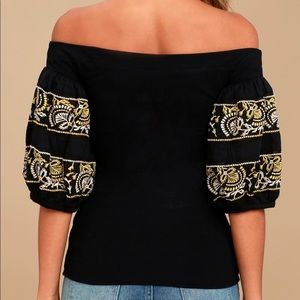 Free People Tops - Free People Embroidered Off The Shoulder Top